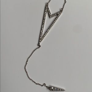 Long necklace with rhinestones.